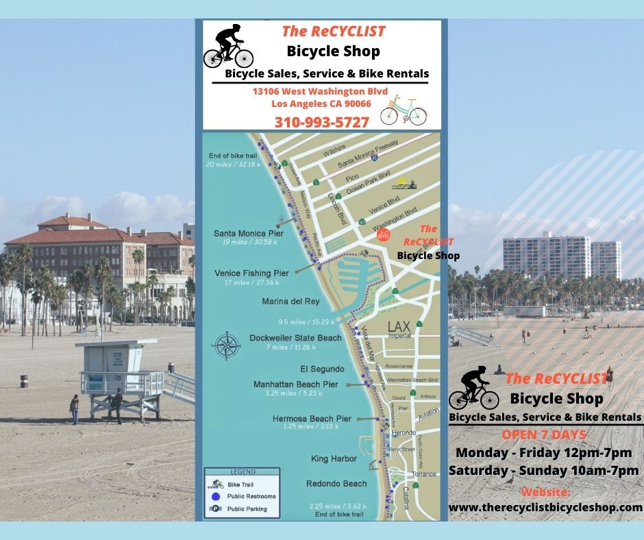 The ReCYCLIST Bicycle Shop - Bicycle Rental Los Angeles Bike Map to Marina Del Rey Venice Beach